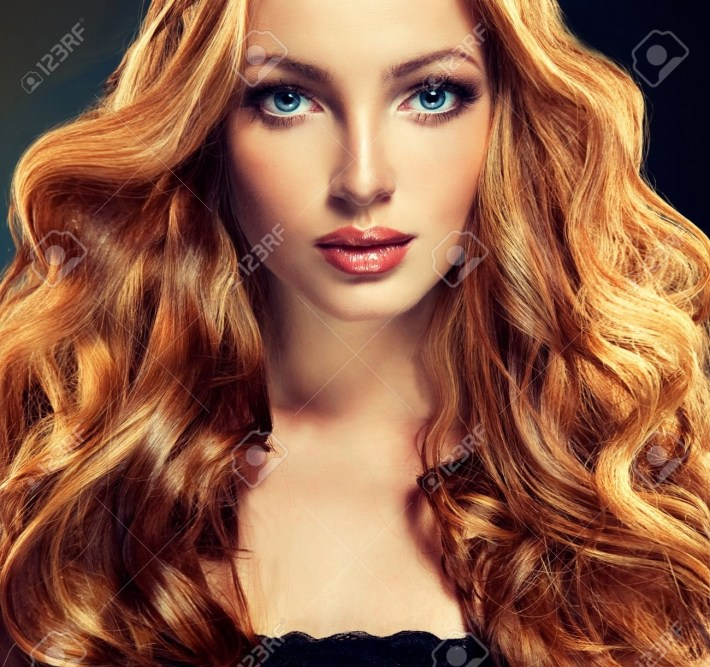 Beautiful Model With Long Curly Red Hair . Styling Hairstyles in Ling Curly Red Hair Styles
