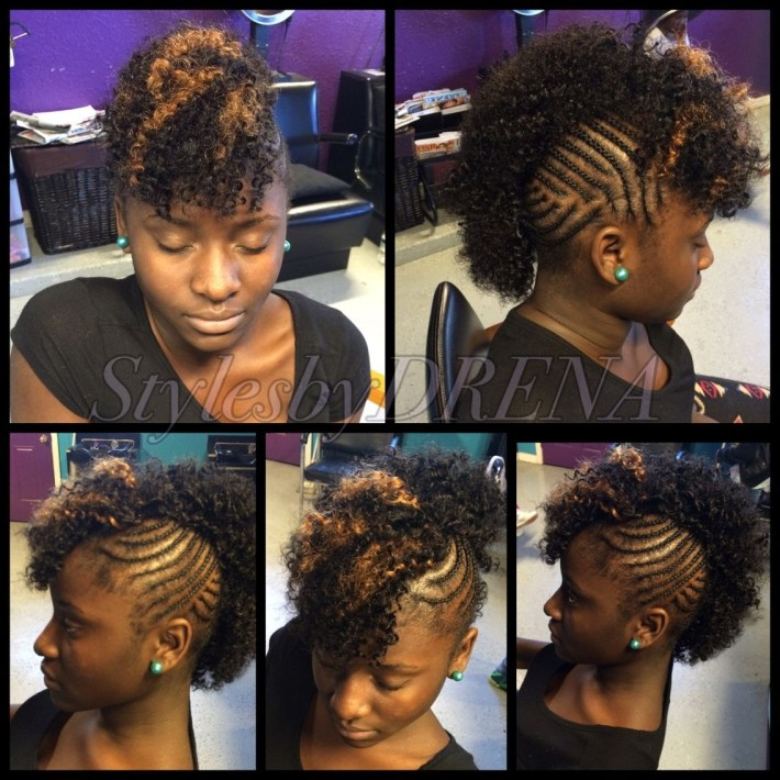 Braided Mohawk W/ Jerry Curl Sew In | Sew Ins/quick Weaves In 2019 intended for Braided Mohawk With Sew In Weave