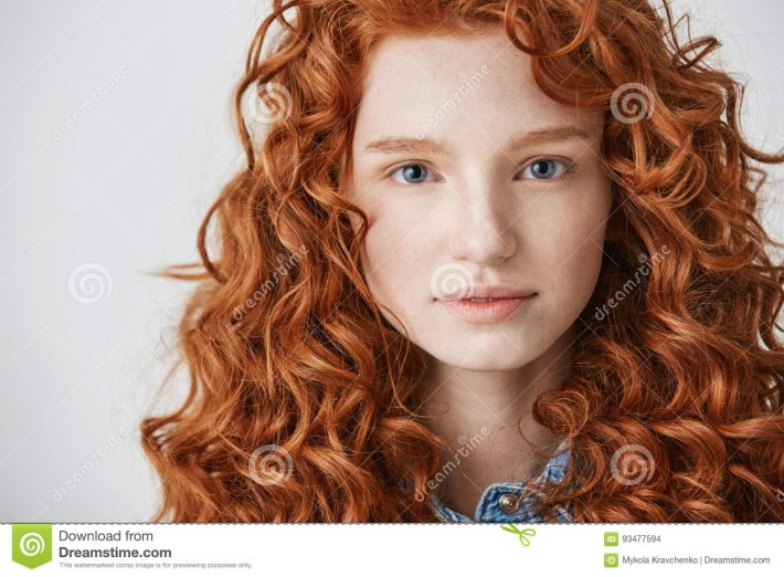 Close Up Of Beautiful Girl With Curly Red Hair And Freckles Looking in Ling Curly Red Hair Styles