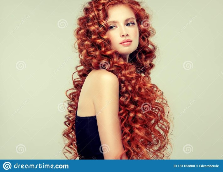 Portrait Of Young, Attractive Young Model With Incredible Dense for Ling Curly Red Hair Styles
