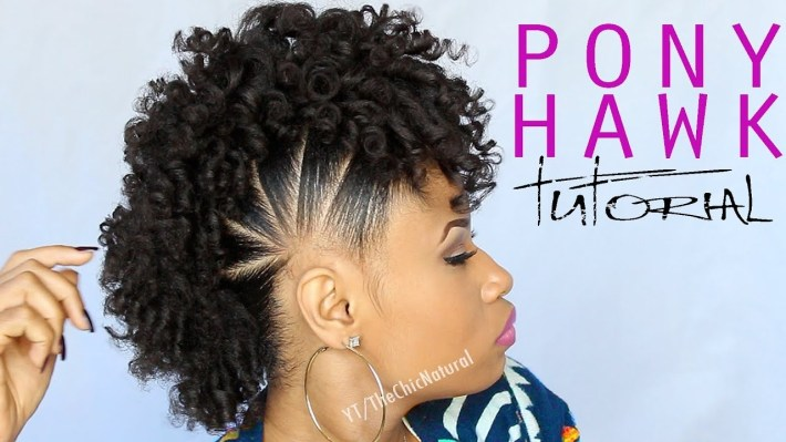 The Pony Hawk   Natural Hairstyle - Youtube throughout What Is The Best Weave To Use For Mohawk Style