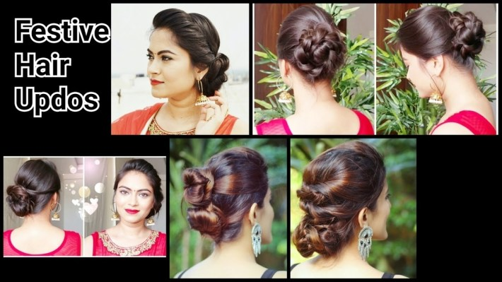 2 Quick&easy Indian Bun Hairstyles For Saree/anarkali/lehnga//party  Hairstyles For Medium/long Hair throughout Casual Indian Hairstyles For Medium Hair