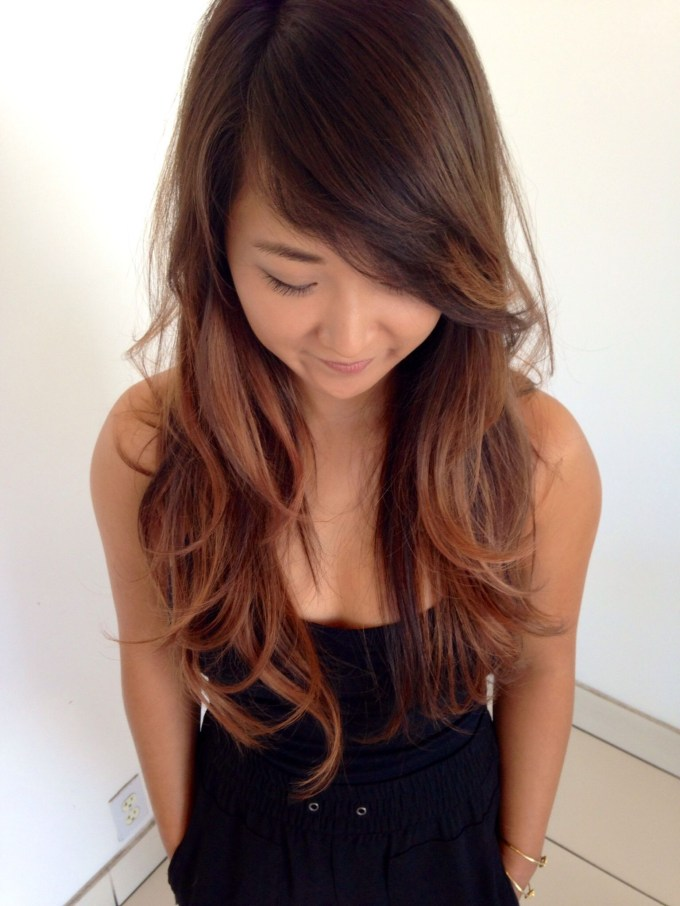 Allie. Long Layered Asian Hair. Balayage Highlights And Side Swept throughout Asian Side Swept Bangs Hairstyles