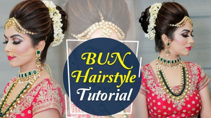 Bun Hairstyle Tutorial | Step By Step Indian Bridal Hairstyle Tutorial  Video | Krushhh By Konica intended for Bun Hairstyle For Indian Wedding With Flower