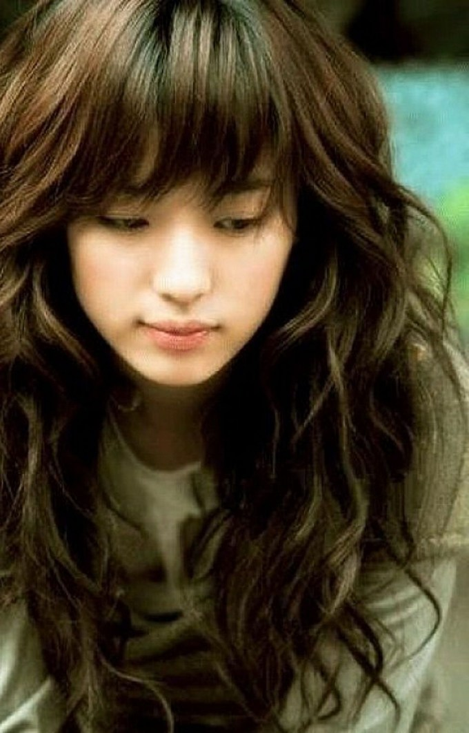 Cute Asian Long Haircut Haircut Hairstyles With Bangs For Wavy Hair within Top-drawer Asian Long Curly Hairstyles