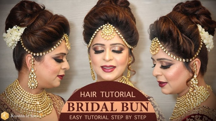 Easy Bridal Bun Hairstyle Tutorial | Step By Step Bridal Hairstyle  Tutorials | Krushhh By Konica regarding Bun Hair Style For Indian Bride