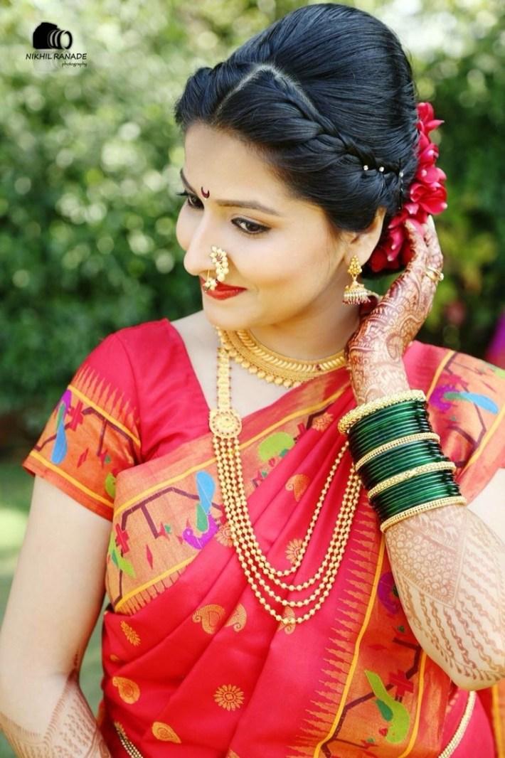 Maharashtrian Bride Wearing Traditional Saree And Bridal Jewellery regarding Bridal Hairstyle Indian Marathi Style