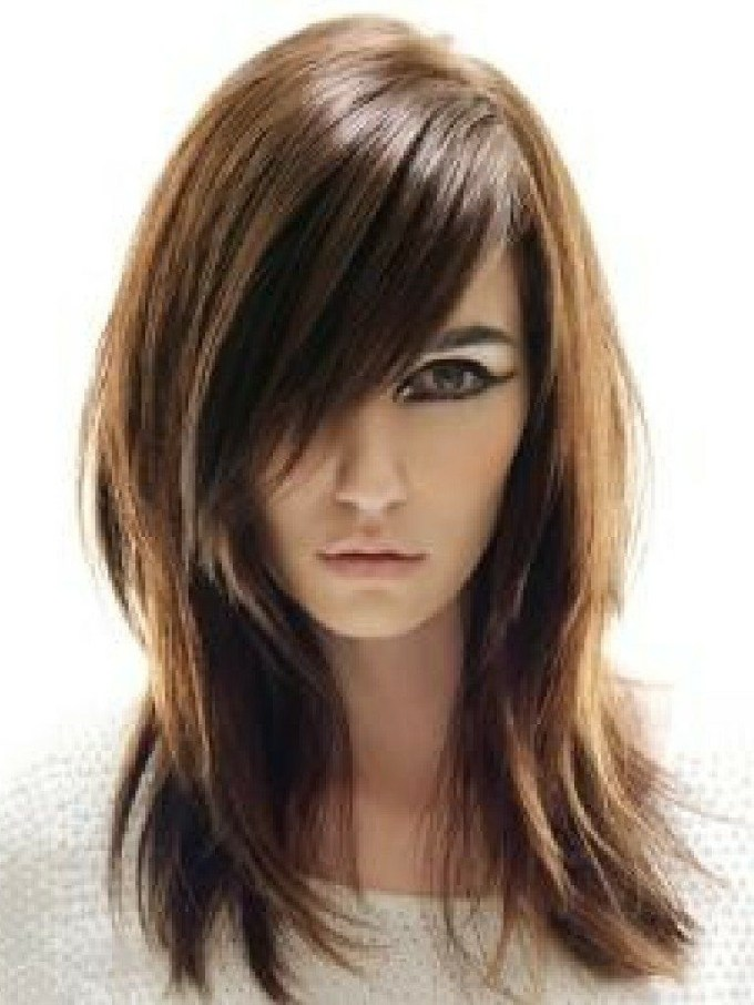 Medium-Length-Straight-Hairstyle-With-Side-Swept-Bangs-And-Layers throughout Asian Side Swept Bangs Hairstyles