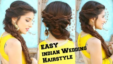 Wedding Hairstyle For Medium To Long Hair | Fishtail Braid Hairstyle For  Indian Wedding Occassions in Braided Hairstyles For Long Hair Indian Wedding