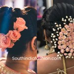 Indian Wedding Bun Hairstyle With Flowers And Gajra in Indian Bridal Hairstyle With Roses