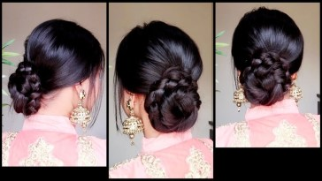 Quick Easy Braided Bun Hairstyle For Parties//indian Wedding Guest  Hairstyle For Medium To Long Hair for Simple Indian Bun Hairstyles For Long Hair