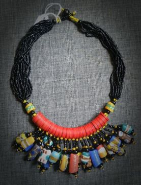 Fulani bride necklace, made of kofi pearls and glass paste