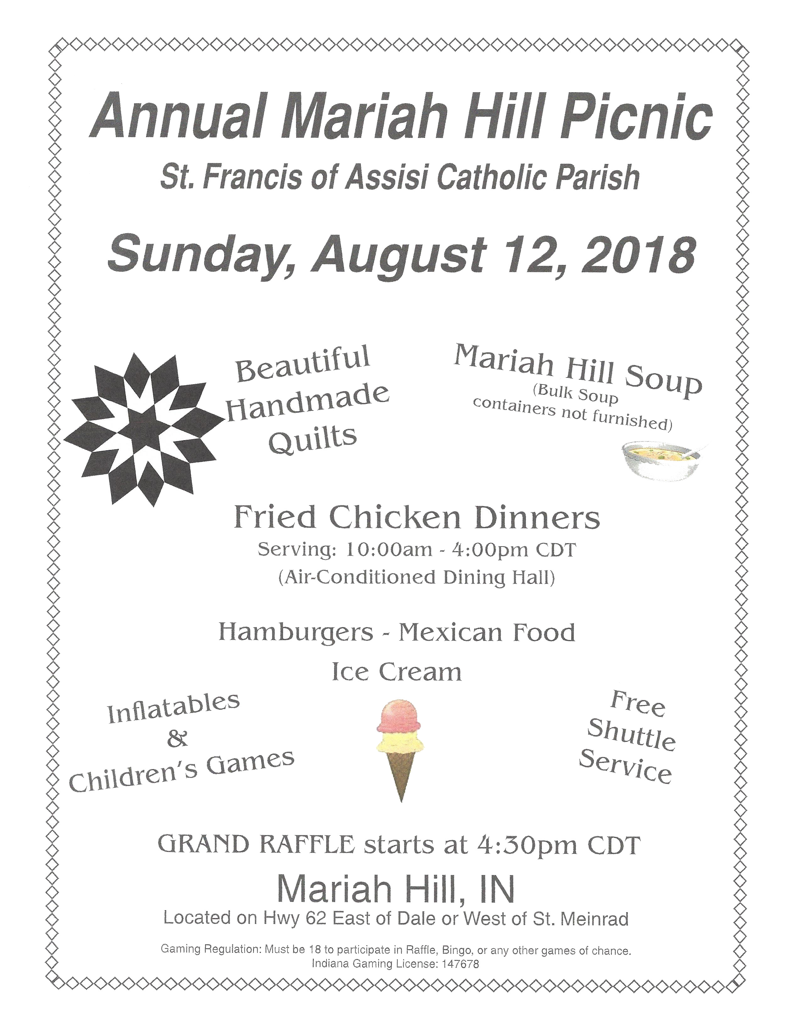 Annual Mariah Hill Picnic Is Sunday August 12th 1033 The Fix