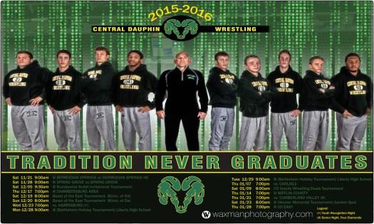 2015-2016 Central Dauphin Varsity Wrestling poster