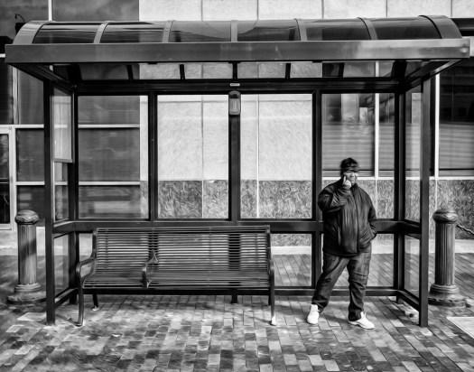 bus stop 31 b&w