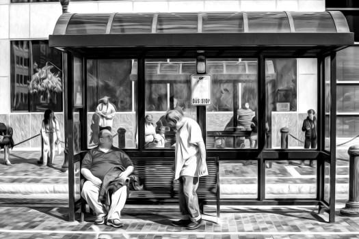 bus stop 35 b&w