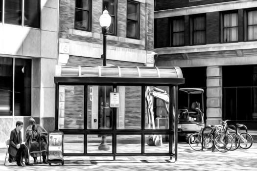 bus stop 36 b&w