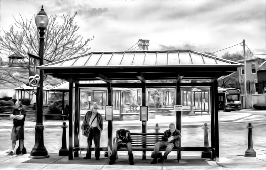 lancaster scenes at the bus stop-5 b&w