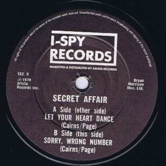 Secret Affair – Let Your Heart Dance – Paper Sleeve - 7-inch Vinyl Record