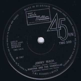 Martha And The Vandellas - Jimmy Mack – Tamla Motown TMG 599 - 7-inch Vinyl Record