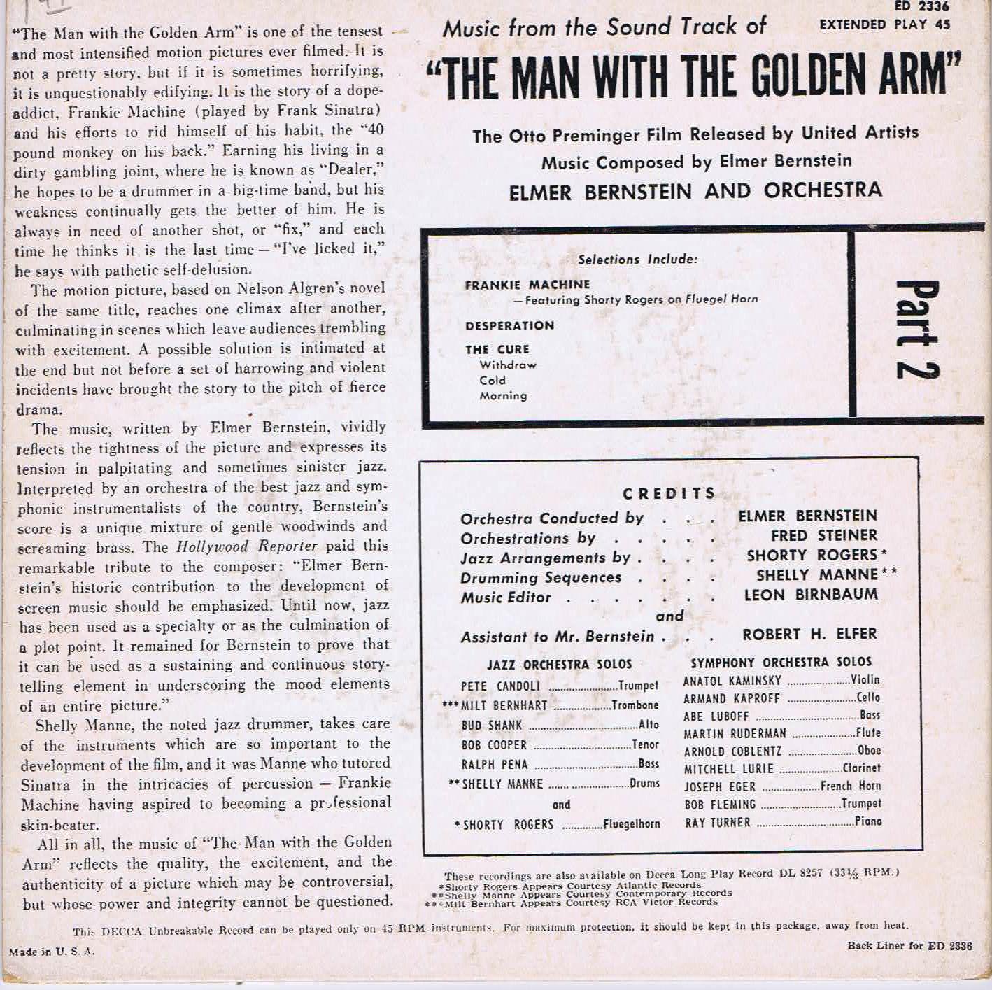 Elmer Bernstein - The Man With The Golden Arm - 3-EP Set - ED 2335, 2336,  2337