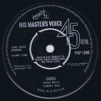 Tommy Roe – Carol - HMV - POP-1290 - 7-inch Record