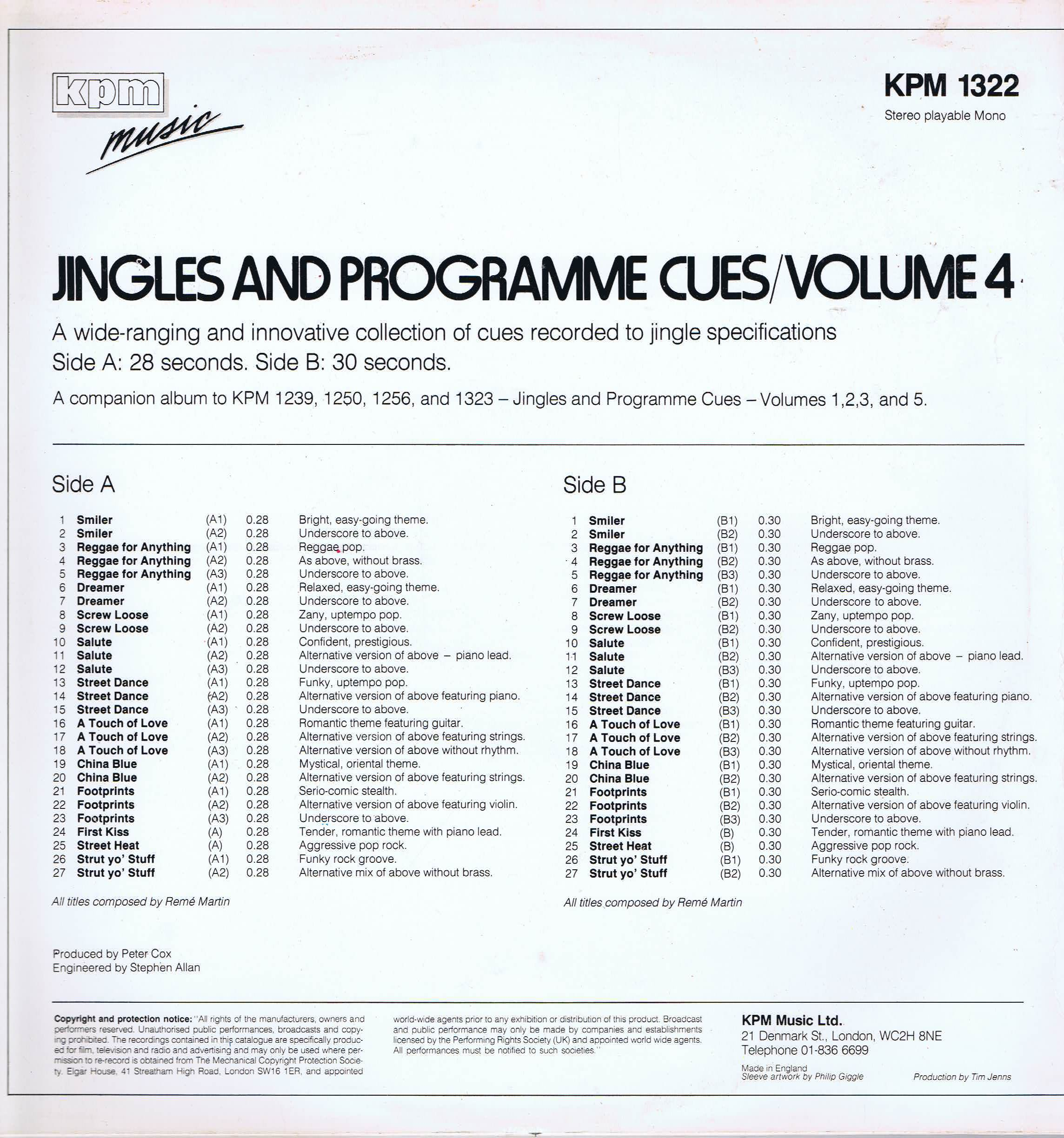 Reme Martin - Jingles And Programme Cues 4 - KPM 1322 - Library Music LP