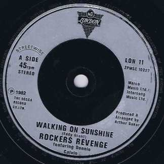 Rockers Revenge Feat. Donnie Calvin – Walking On Sunshine - 7-inch Vinyl Record