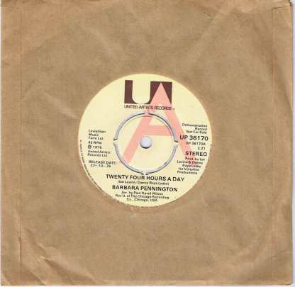 Barbara Pennington – Twenty Four Hours A Day - UP 36170 - Promo 7-inch Vinyl Record