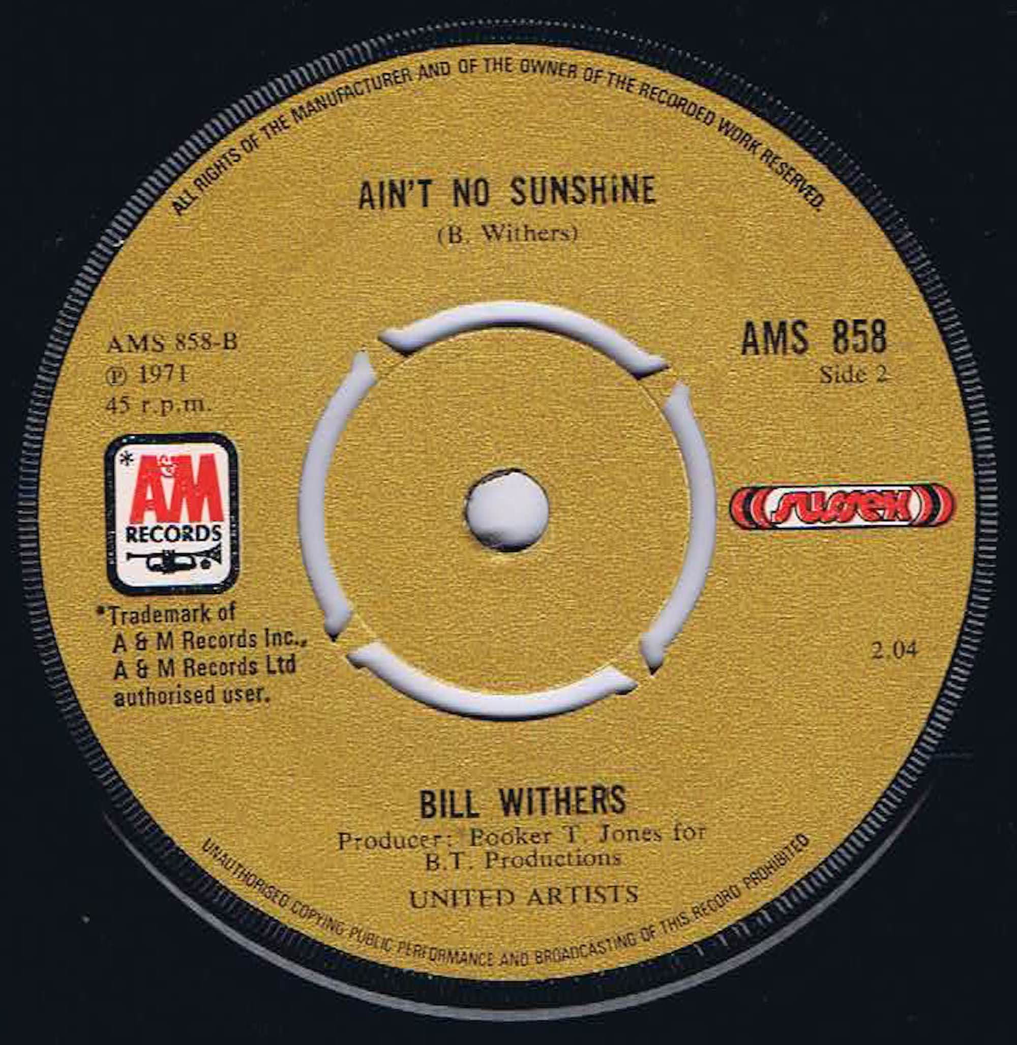 Bill Withers Harlem Ain T No Sunshine Ams 858 7 Inch Vinyl