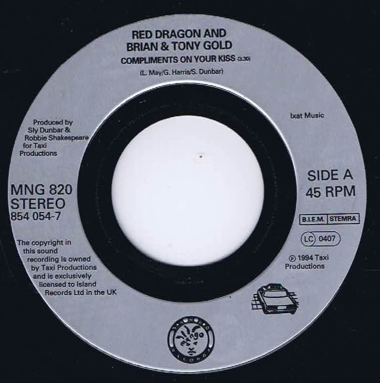 Red Dragon & Brian & Tony Gold - Compliments On Your Kiss - 7-inch Vinyl  Record • Wax Vinyl Records