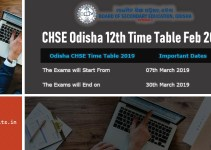 CHSE Odisha 12th Time Table March 2019