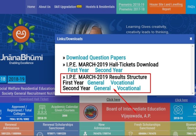 Manabadi inter results 2019 ap