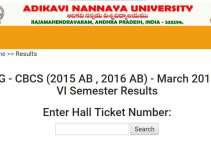 ANKU UG CBCS (2015 AB, 2016 AB) 6th Sem Results 2019