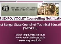 WB JEXPO, VOCLET Counselling Notification
