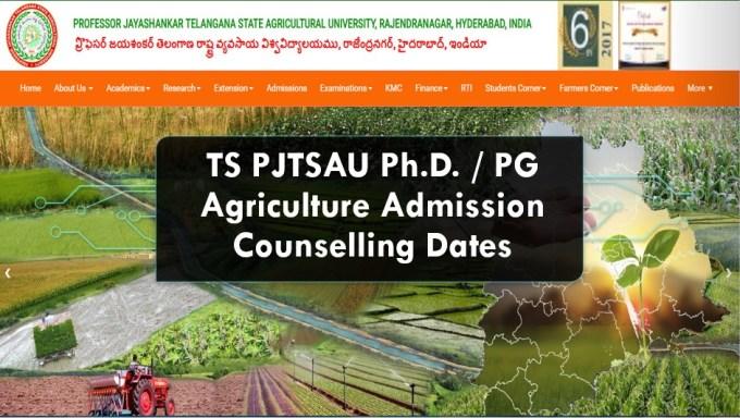 Telangana PJTSAU Ph.D PG Agriculture Counselling