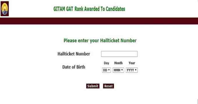 GITAM GAT Rank Card Download