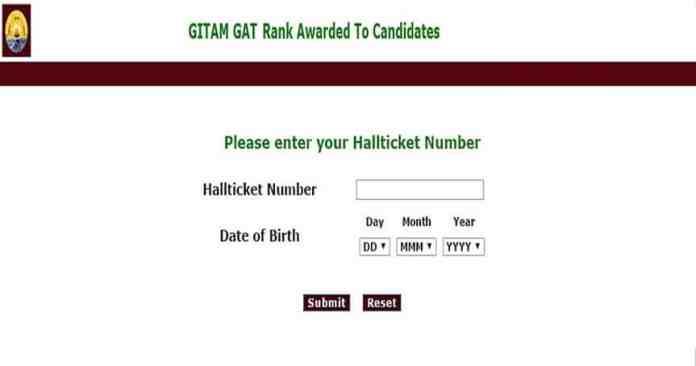 GITAM GAT Rank Card Download