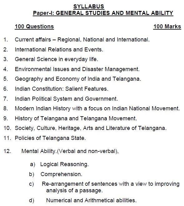 TS Panchayat Secretary Syllabus for Paper-I