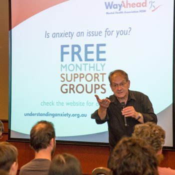 Professor Rocco Crino speaks at an Anxiety Forum