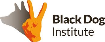 Black Dog Institute logo - Orange had making peace sign with shadow of dog, black text