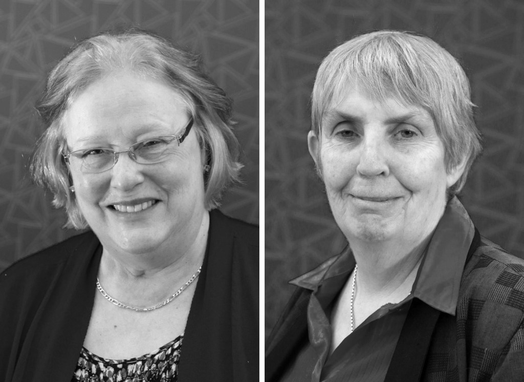 Black and white picture of Dr Meg Smith and Sharyn McGee