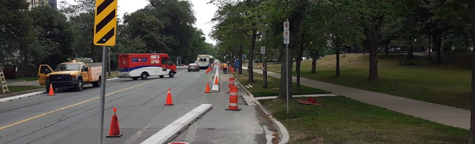 South Park bike lane will open soon swapping the existing bike lane to the inside and the parking to the outside of the new pinned curb.