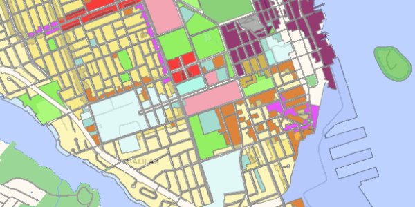Proposed Zoning for District Seven. Light yellow is ER-1, grey-yellow is ER-3