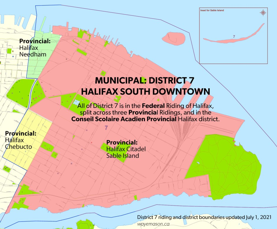 Map of District 7 showing political divisions (Federal, Provincial, Conseil, Municipal)