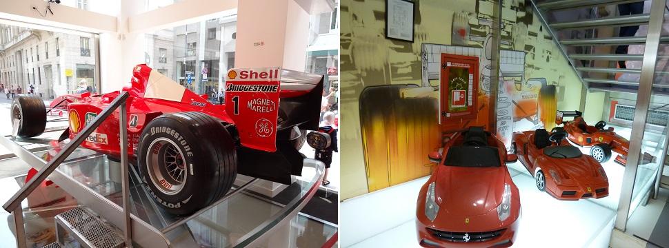 イタリア・ミラノ大聖堂そばのフェラーリのお店の中
