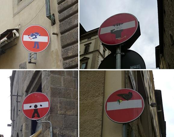 イタリア・フィレンツェにある道路標識