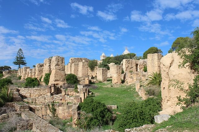 チュニジアのカルタゴの遺跡