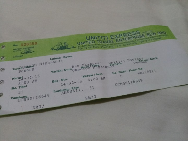Getting from Cameron Highlands to Penang