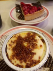 seasonal special desserts: raspberry tart and crème brûlée ice cream